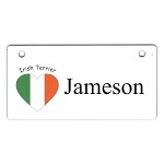 Irish Terrier Heart Flag Crate Tag Personalized With Your Dog's Name